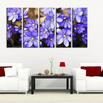 Purple Flowers Canvas Art Prints For Wall, 5 Panels Framed Ready to Hang, Cherry Blossom Prints On Canvas, 100% Quality Prints