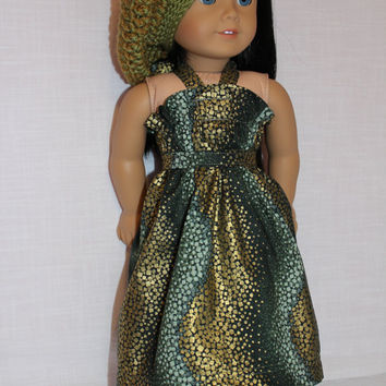3 piece set!! green and gold halter dress, crochet hat, matching belt, 18 inch doll clothes, American girl, maplelea