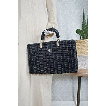 Vintage 1970s Woven Rattan + Plaid Lined Bag