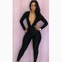 Women Sexy Backless Long Sleeve Chest Revealing Nightclub Romper a10771
