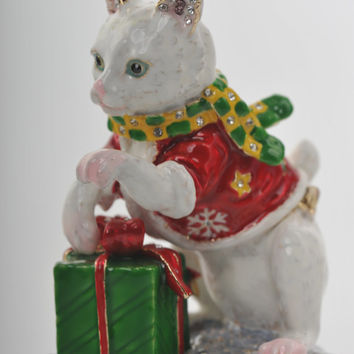 Christmas Cat with Presents Faberge Styled Trinket Box Handmade by Keren Kopal Enamel Painted Decorated with Swarovski Crystals