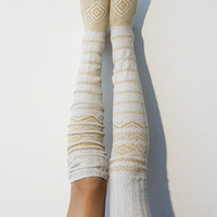 Scandinavian Patterned Thigh High Socks Ivory