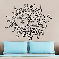 Wall Decal Sun Moon Sunshine Stars Crescent Dual Ethnic Night Symbol Vinyl Sticker Decals Nursery Home Decor Bedroom Art Design Interior NS821