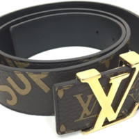 Louis Vuitton x Supreme 17AW Initiales 15.7 inch Saint-Cul Belt MP016 Used Brown