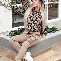 Fendi  New fashion more letter print long sleeve sweater top and pants two piece suit Khaki
