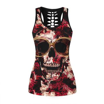 Personality Casual Hollow Flower Skull Head Print Round Neck Sleeveless Vest T-shirt