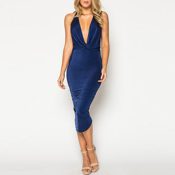 Deep V-Neck Halter Bodycon Dress