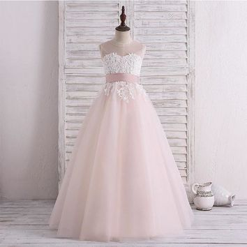Tulle Lace A Line Flower Girl Dresses for Wedding First Communion Dresses Wedding Party Dress  Runway Show Pageant Danceway