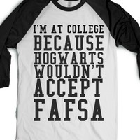 I'm At College-Unisex White/Black T-Shirt
