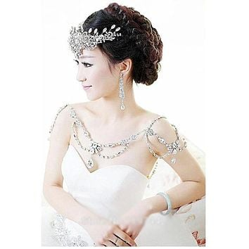 Bridal Shoulder Chain Pendant Long Necklace Wedding Bridal Accessories