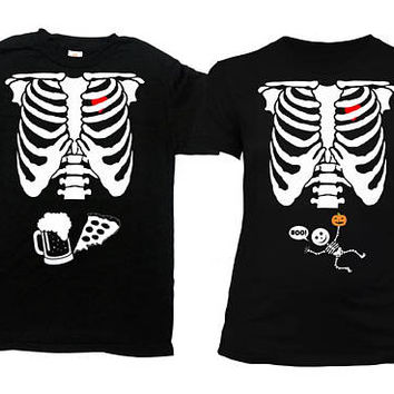 Matching Halloween Costumes Maternity Announcement Shirt Mommy To Be Couples T Shirt Baby Skeleton TShirt Father To Be Tee - SA845-474