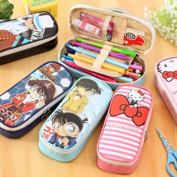1Pcs/set Cute Cartoon Hello Kitty Detective Conan Pencil Bag Stationery Storage Organizer Bag School Office Supply