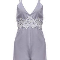 Plunging Neck Lace Backless Romper