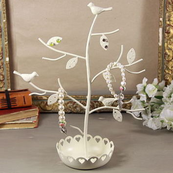 Flowery Jewellery Stand With Birds