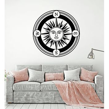 Vinyl Wall Decal Compass Art Sun Face Day Bedroom Nautical Style Stickers Mural (g1655)