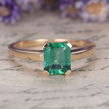 8x6mm Natural emerald Cut Emerald ring,engagement ring,wedding ring,14k white gold anniversary,promise ring,Bridal ring,stacking matching
