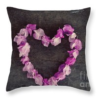 """Pink flower heart Throw Pillow for Sale by Ivy Ho - 16"""" x 16"""""""