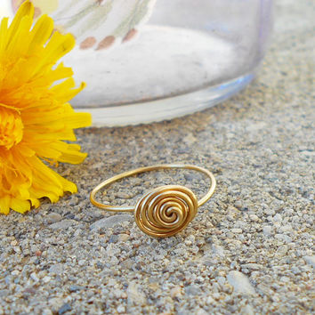 Gold ring, Simple gold ring, minimalist ring, gold wire ring, bohemian ring, custom ring, hippie rings, swirl wire ring, gypsy jewelry, boho