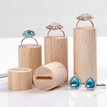 Wood Ring Display Holder Cylinder Wood Jewelry Display Stand Jewellery Ring Stand Organizer Counter Exhibit Storage Jewelry Tray