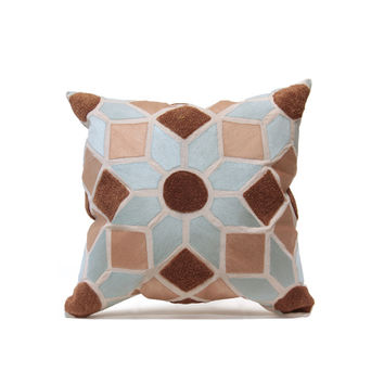 Tuniz Pillow in Blue & Taupe design by Bliss Studio