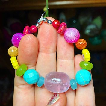 Chakra Braceley with Amethyst, Blue Aventurine, Turquoise, Peridot, Yellow Flower Glass Blown Beads, Orange & Pink Dragon-vein Agate, Pink crazy Lace Agate & Pink Jasper Stretchy