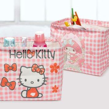 Retail 1 Pcs Small Size Cartoon Hello Kitty My Melody Home Office Makeup Organizer Kid Toy Organizador Storage Box