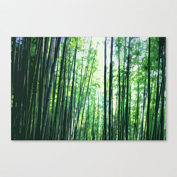 Bamboo Forest - Gallery Wrap Canvas, Jungle Green Zen Woodland Art Boho Chic Satin Matte Canvas Wall Hanging in 8x10 11x14 16x20 20x24 24x36