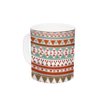 "Nika Martinez ""Boho Mallorca"" Red Multicolor Ceramic Coffee Mug"