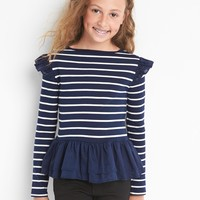 Stripe ruffle-trim long sleeve tee | Gap