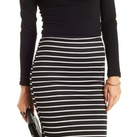 Black/Ivory Striped Bodycon Pencil Skirt by Charlotte Russe