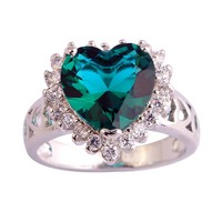 Psiroy 925 Sterling Silver Exquisite Heart Shaped Rainbow Topaz Engagement Filled Ring for Women