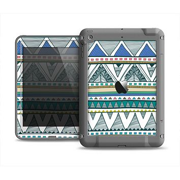 The Abstract Blue and Green Triangle Aztec Apple iPad Air LifeProof Fre Case Skin Set