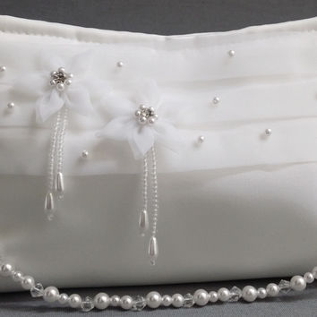 Glory Collection B19 Girls Baptism Christening Communion Pearl White Satin Organza Purse Bag