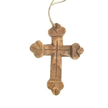 Hanging Carved Nasrani Cross Christmas Tree Ornament, Natural, 4-Inch