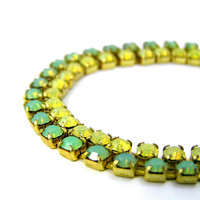 Rhinestone Tennis Bracelet, Yellow, Green, Swarovski Crystal, Spring Jewelry, Brass Setting, Vintage Inspired, Bright Colors, Jewelry Set