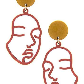 Red Gold Face Dangle Earrings