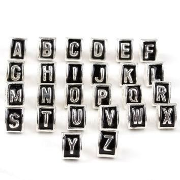 Charms 1pc Silver European Black Initial Letter Fits Pandora Bracelets Beads