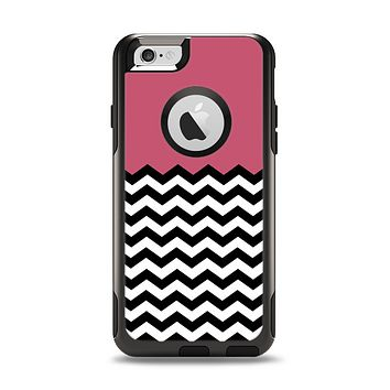 The Solid Pink with Black & White Chevron Pattern Apple iPhone 6 Otterbox Commuter Case Skin Set