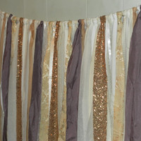 Gold Sequin Garland Backdrop Photo Session White Ivory Eggplant Orchid Sparkle Glitter