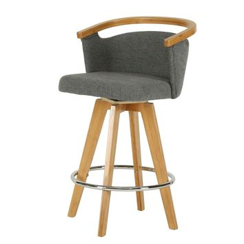 Luca Fabric Bamboo Swivel Counter Stool Stokes Gray