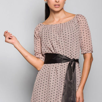 Chiffon Dress with Belt,Polka Dot Dress,Simple and Elegant Dress Day.