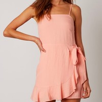 Peach Faux Wrap Mini Dress
