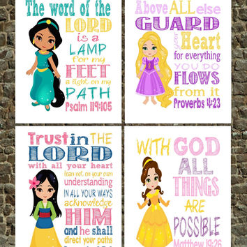Christian Princess Art Print Set of 4 - Rapunzel, Jasmine, Belle, Mulan - Bible Verse Nursery, Playroom or Kid's Room Decor
