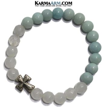 COURAGE | Amazonite | White Jade | Cross | Yoga Chakra Bracelet