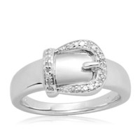 Sterling Silver Buckle Diamond Buckle Ring (.05 cttw, I-J Color, I2-I3 Clarity)