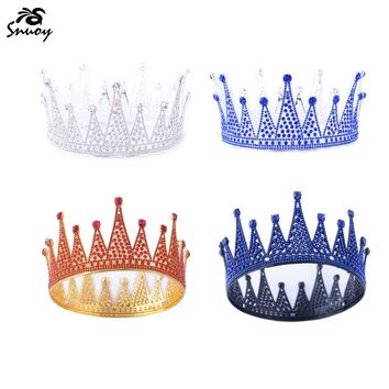 Snuoy Black Metal Crown Red/Blue Full Round Crown Royal King/Queen Halo Circle Tiara Birthday Party Luxury Hair Jewelry Pageant