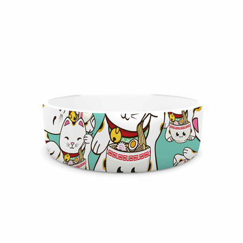 "Juan Paolo ""Ramen Cats"" Teal White Pet Bowl"