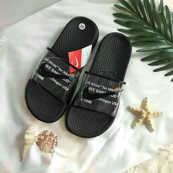 """Nike"" Summer Fashion Letter Logo Transparent Slippers Men Home Sandals Flats Shoes"