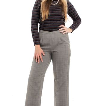 Vintage 90's Flat Front Check Trousers - L