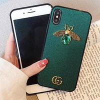 GUCCI Newest Fashionable Ladies Luxury Bee Crystal GG Letter Mobile Phone Cover Case For iphone 6 6s 6plus 6s-plus 7 7plus 8 8plus X XsMax XR